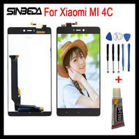 Sinbeda Black LCD Touch Screen Digitizer Assembly For Xiaomi Mi4c Mobile Phone Display Replacement Parts For