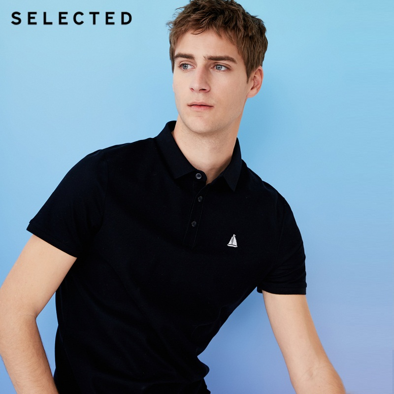 SELECTED Men Poloshirt 100% Cotton Embroidered Casual Short-sleeve Lapel Threaded Cuff Shirt S|41823Z525