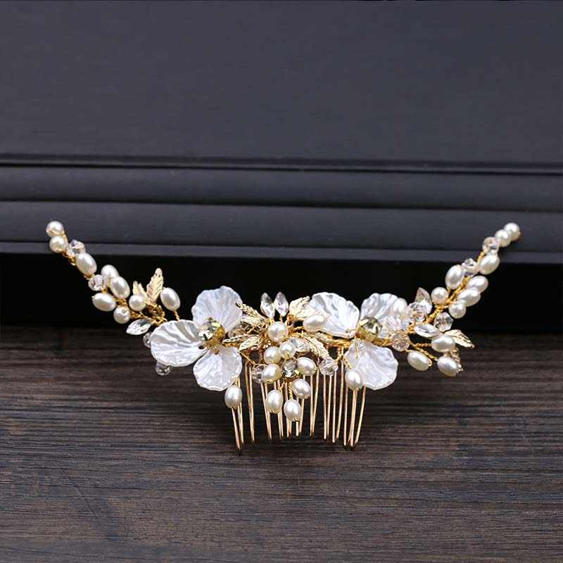 ACRDDK Gold Crystal Leaf Hair Combs Jewellery Bride Headpiece Tiaras Hair Comb Women Wedding Bridal Hair Jewelry Accessories SL