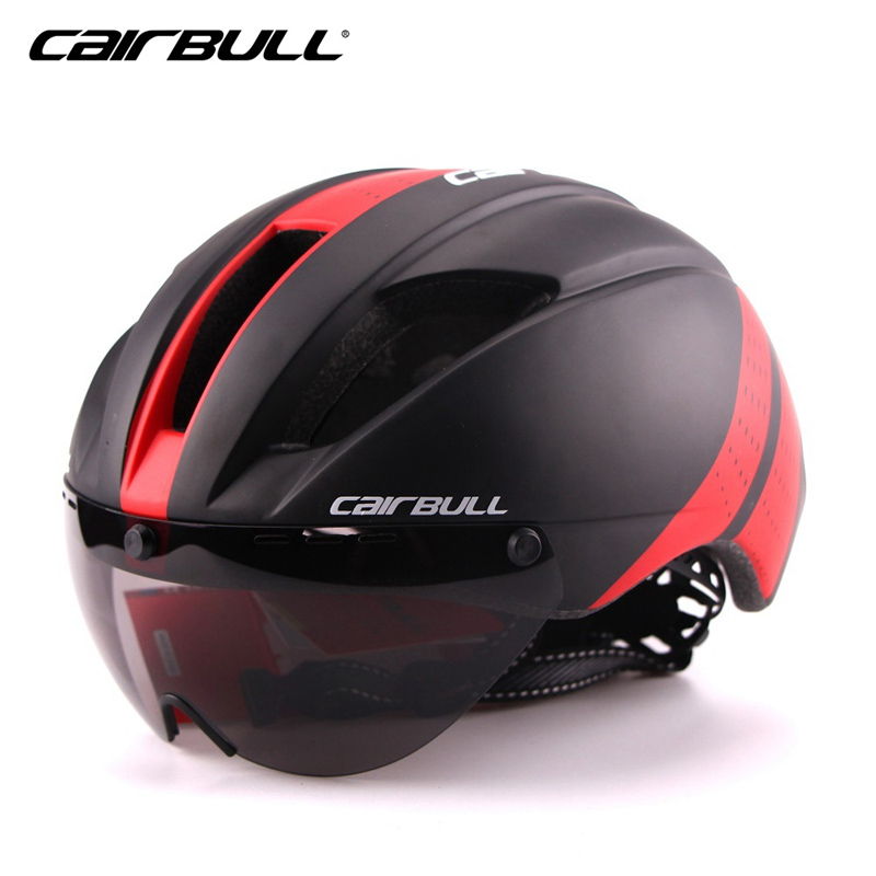 CAIRBULL Cycling Helmet With Lens Men Integrally-molded 11 Vents Windproof Bicycle Bike Mountain Road MTB Helmet Casco Ciclismo rockbros cycling helmet men women breathable 32 air vents goggles mtb road bicycle bike helmet with 3 pair lens casco ciclismo