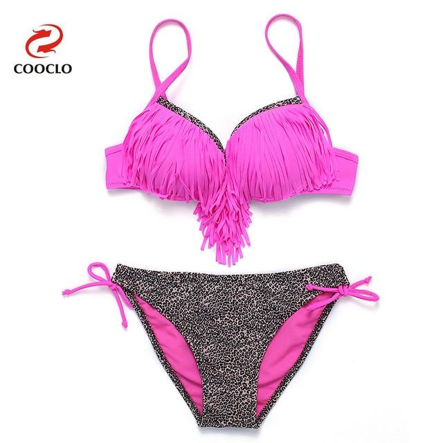 8c32679baae28 COOCLO Fringe Bikini 2019 Padded Push up Swimwear Women Swimsuit Sexy Bikini  Set Bathing Suit Tie