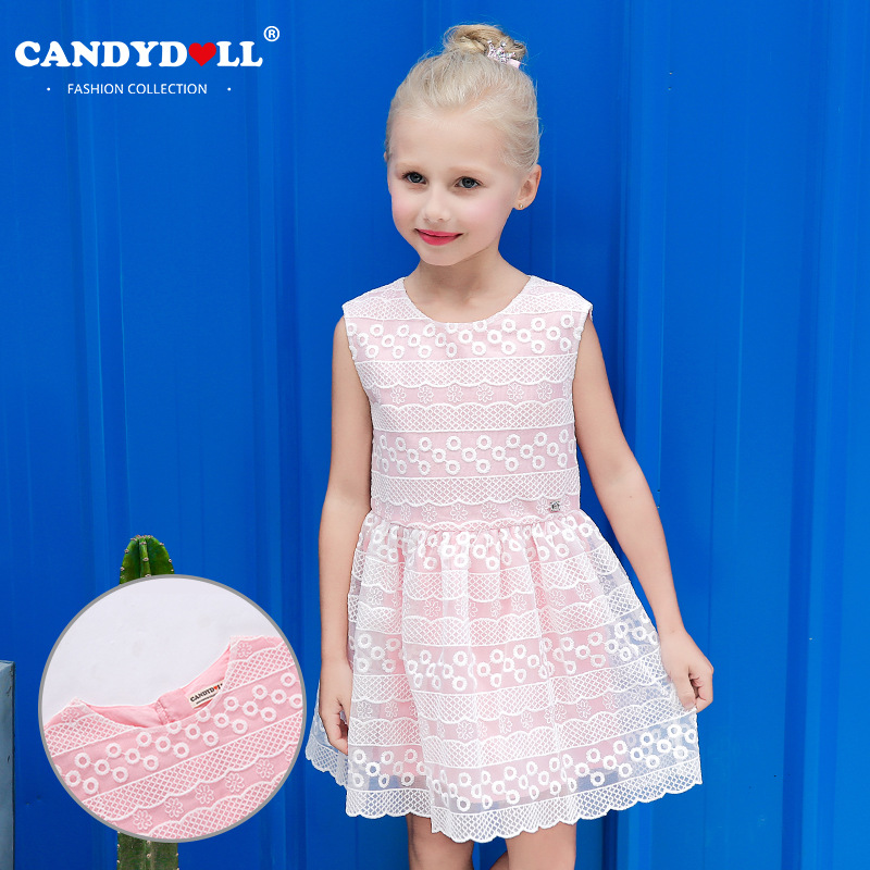 2017 summer new lace embroidery girl dress European and American wind cotton children princess dress national wind embroidery lace up neck dress