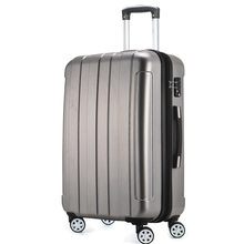 Universal 4 Wheels Hardside ABS PC Travel Trolley Luggage Suitcase 1 Piece  28inch Silver Color Upright Durable Fochier XQ018