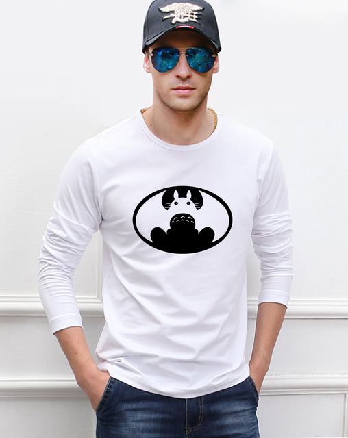 Japanese Anime My Neighbour Totoro Vs American Batman Funny Men T Shirt 2017 Hot Summer