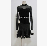 Latin dance costume sexy gauze long sleeves latin dance short dress for women latin dance competition costume dresses