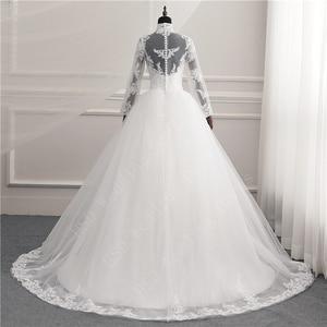 Image 2 - 긴 소매 레이스 지퍼 매력 단추 이슬람 새로운 화이트 웨딩 드레스 2021 환상 신부 가운 빈티지 Vestido 드 Noiva 플러스 크기