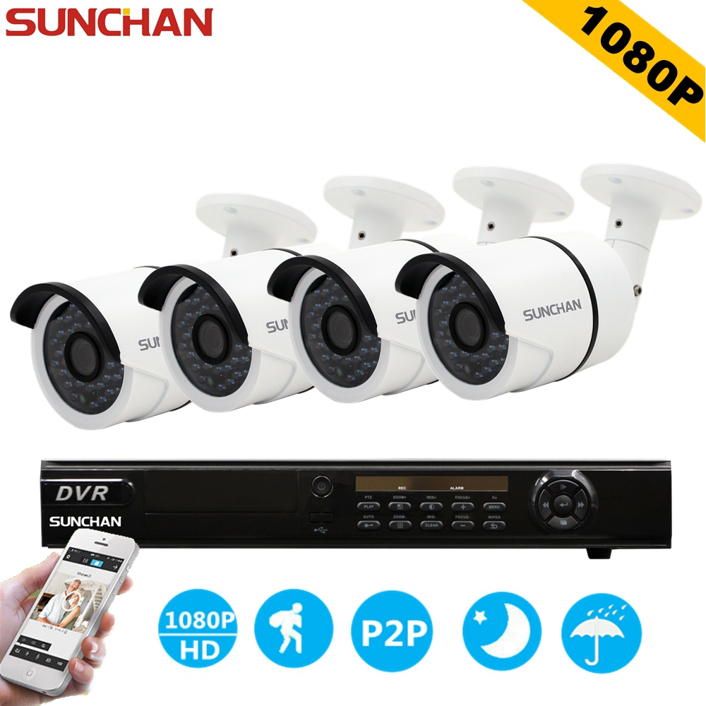 SUNCHAN HD AHD-H 1080P 2.0 Megapixels 8CH AHD CCTV 1080P Security Camera System Waterproof Day Night Vision Home DIY Kits