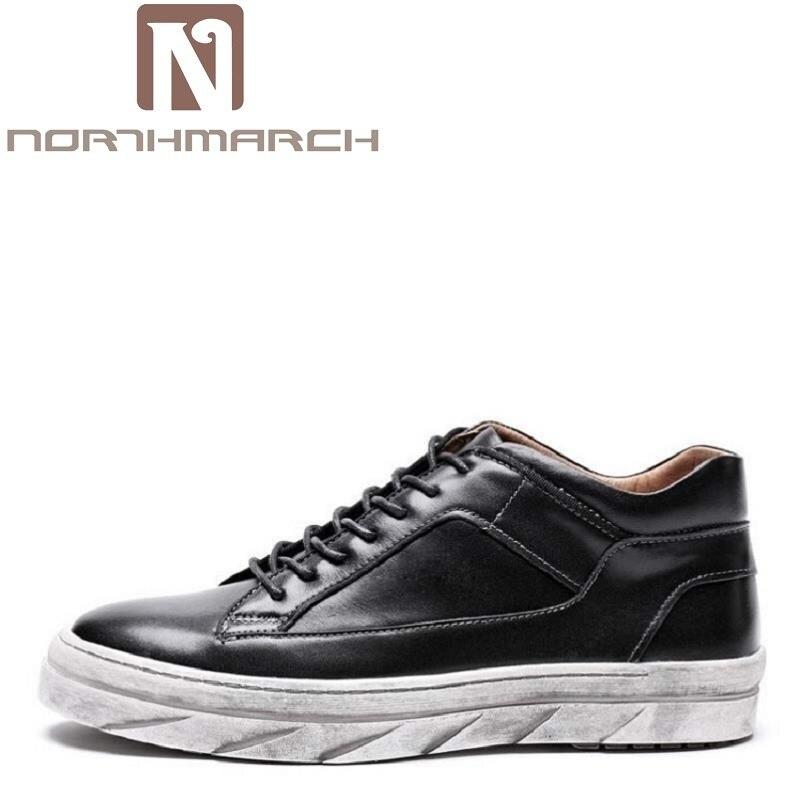 Noir Chaussures Véritable Lace En pu Vache Court Peau Mens Casual Cheville Ciel Cuir Up New Hommes Mode Marque Northmarch Bottes De RLq3Aj54