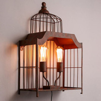 American country style wall light industry retro bar creative two head pulley lift stairs bedroom wall lamp