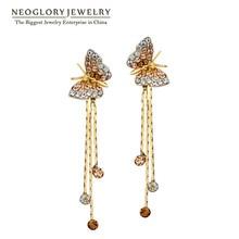 Neoglory длинные висячие серьги с бабочкой для подружки невесты, подростковый стиль, новинка, подарок на день рождения, модные ювелирные изделия JS6