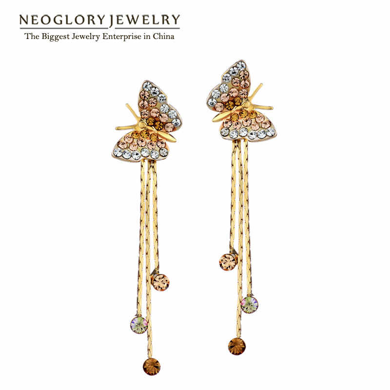 Neoglory Butterfly Long Tassel Dangle Drop Earrings Bridesmaid Teen Girl 2018 New Bday Birthstone Gifts Fashion Jewelry JS6