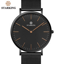 STARKING Brand Swiss Style 6mm Ultra-thin Simple Watch Men Quartz Fashion Full Steel Male Wrist Watches Black Mesh Strap Clock