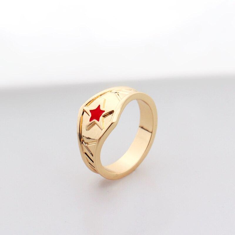 Wonder Woman Tiara Ring with Red Star,Super Hero Wonder Woman Geek Engagement Ring,Girl Power Ring Movie Cosplay Jewelry