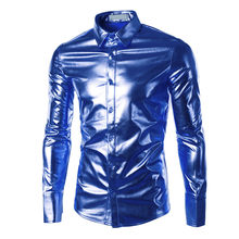 2019 Stage Dance Dress Shirt Slim Fit Mannen Shirts Shiny Lange Mouwen Shirts Luxe Black/Golden/Silver Mannen shirts Chemise Homme D8(China)