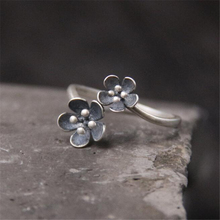 100% 925 Sterling Silver Rings For Women With Double Flowers Fashion Antique Jewelry Wholesale 14mm Wide