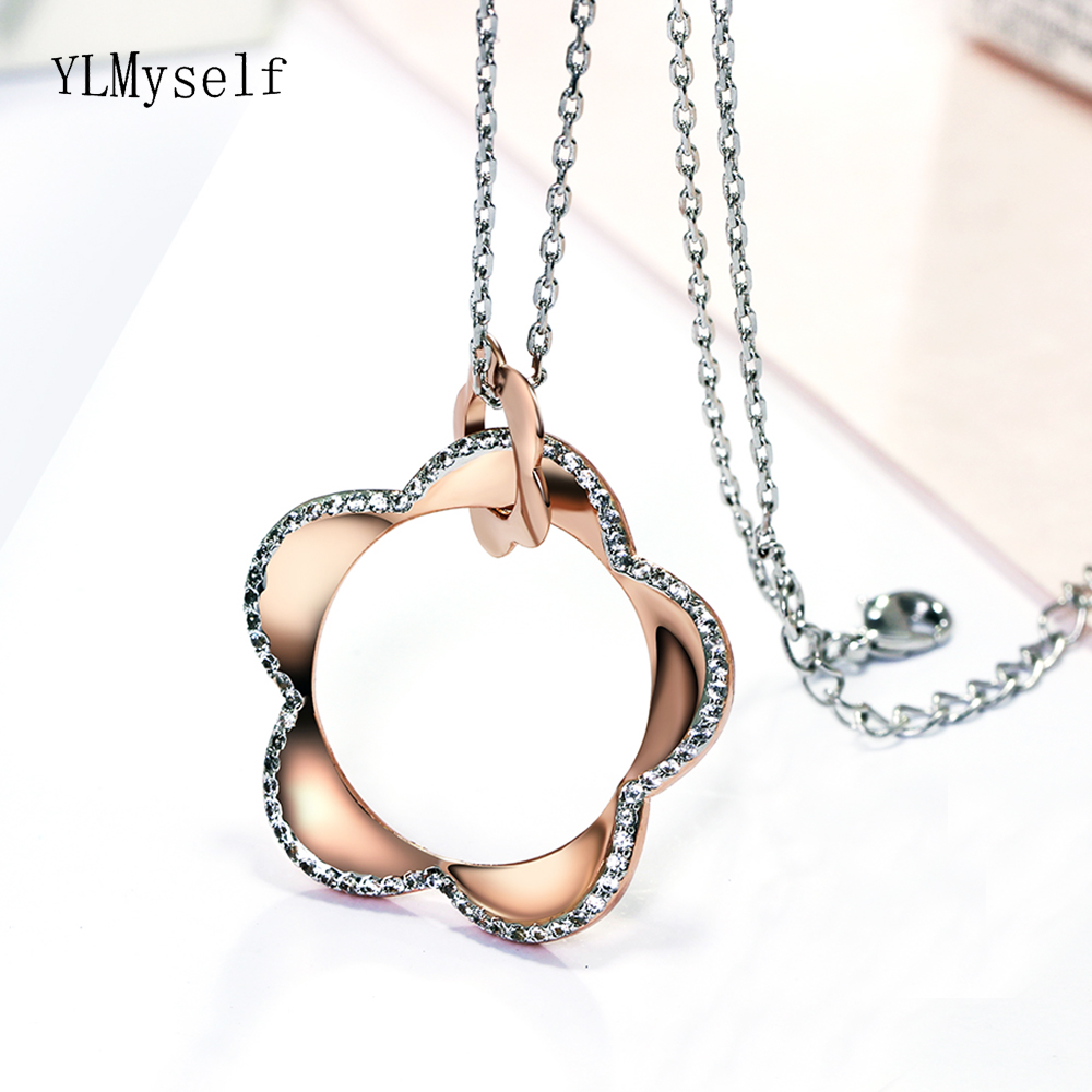 Awsome New rose gold color flower crystal pendant necklace kolye pingente Fashion Big pendants jewelry swarovski solitaire pendant bail