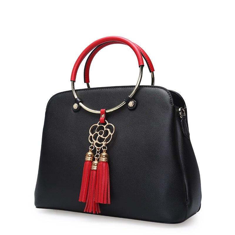 Shell Leder Frische Mode Schulter Tasche black Zart Und Fringe Echtem Pink förmigen Design Handtaschen Neue Umhängetasche Frauen Fg4SvS