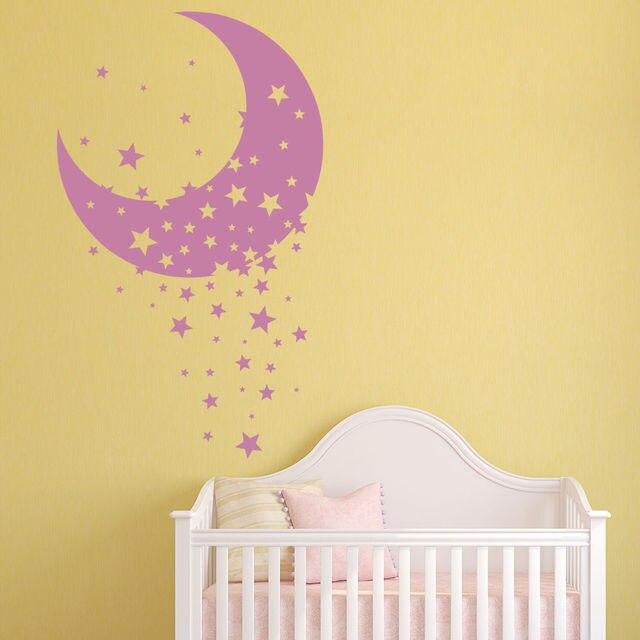 Moon & Star Vinyl Wall Stickers Decorative Nursery Wall Decal ...