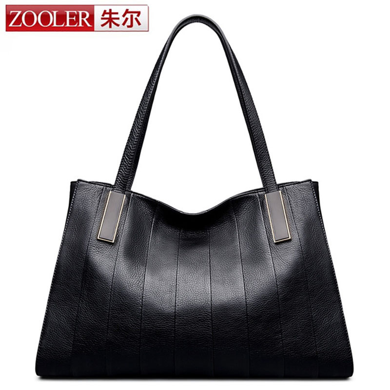 ZOOLER Women Genuine Leather Large Tote Bag Handbag Famous Brand Lady Real Cow Leather Causal Leather Hand Bag Black Red Color zooler genuine leather backpacks for men boy 2016 new backpack real leather famous brand china hot large capacity bag 8339