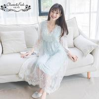 Korean sweet lace princess sleepwear summer mesh retro palace nightwear women 's home clothing wholesale wj1251 free shipping