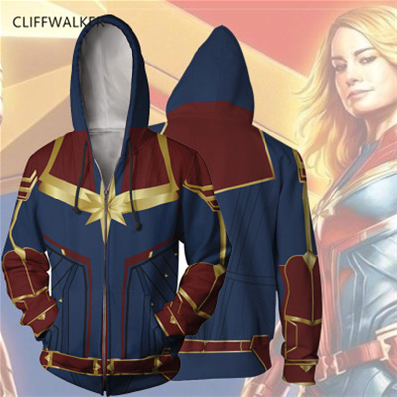 Dropshipping Captain Marvel Cosplay 3D Print For Men Zippers Hooded Sport Hip hop Hoodies Pullover Pocket Lace Loose Tops