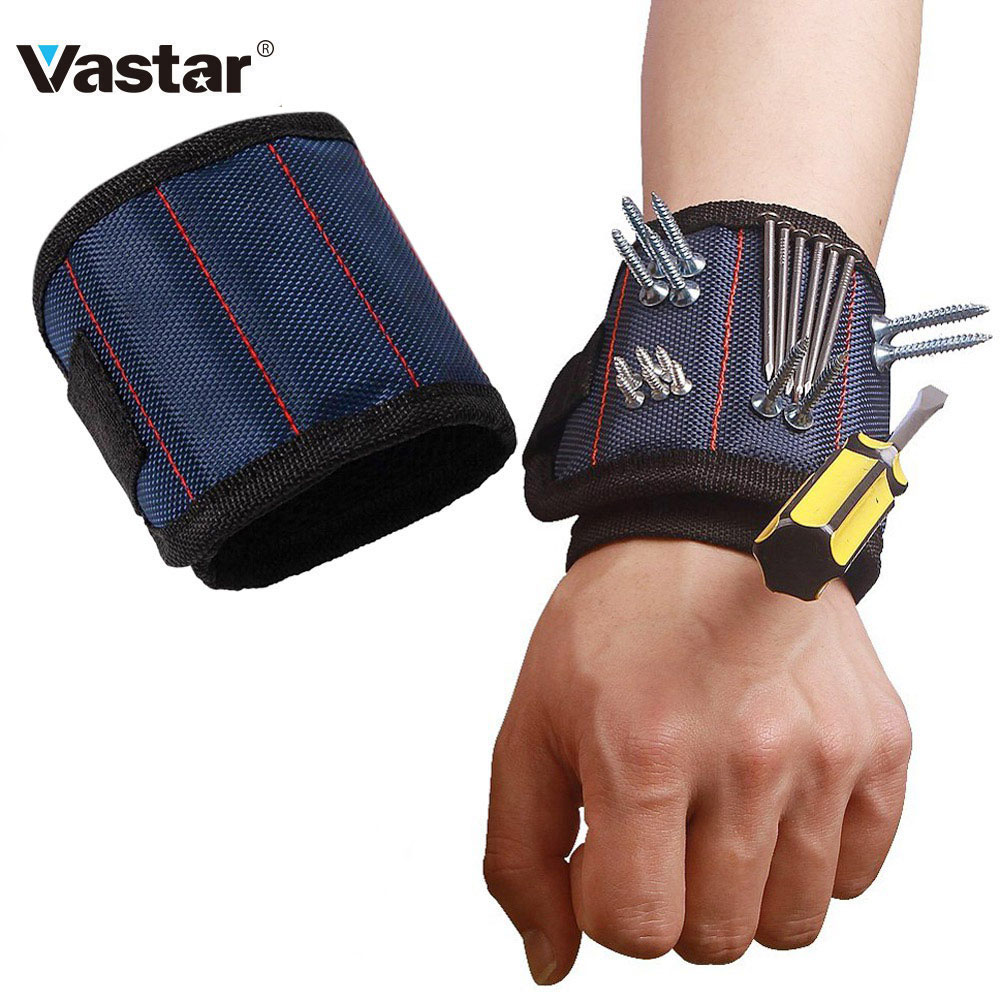 Vastar 4 Colors Polyester Magnetic Wristband 3 Magnet Tool Bag Wrist Tool Belt Screws Nails Drill Bits Holder Repair Tools