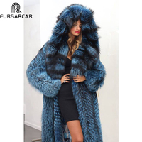 FURSARCAR Customize Winter Real Fur Coat Women Luxury Natural Fox Vest Mink Fur Thick Warm Jacket Fashion Long Fox Mink Fur Coat