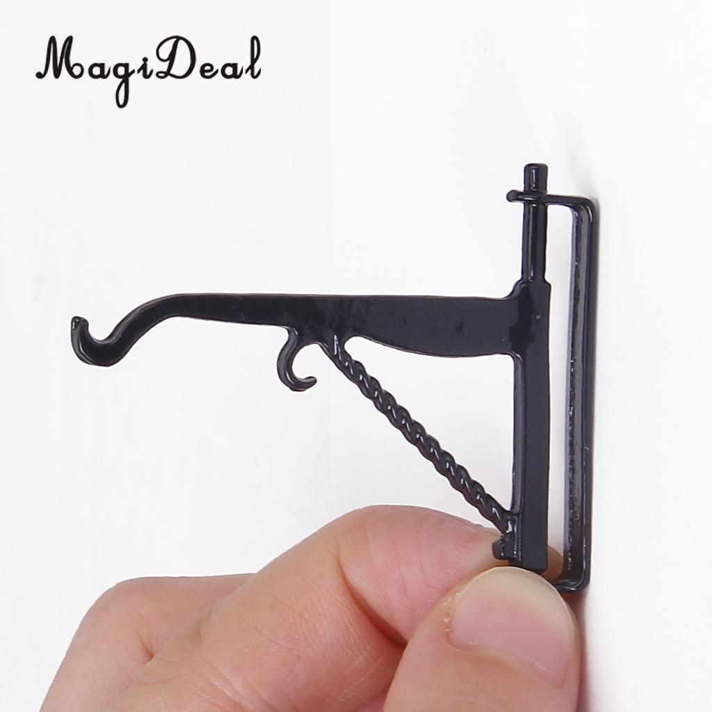 MagiDeal 1:12 Dollhouse Miniatures Black Metal Plant Hook Hanger Model Decor