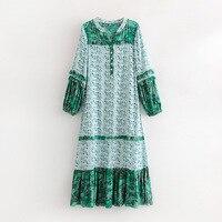 2018 Women Dresses Bohemia Green Floral Printing Autumn Beach O neck Long Ruffle Sleeve Side Slit Loose Party Dresses