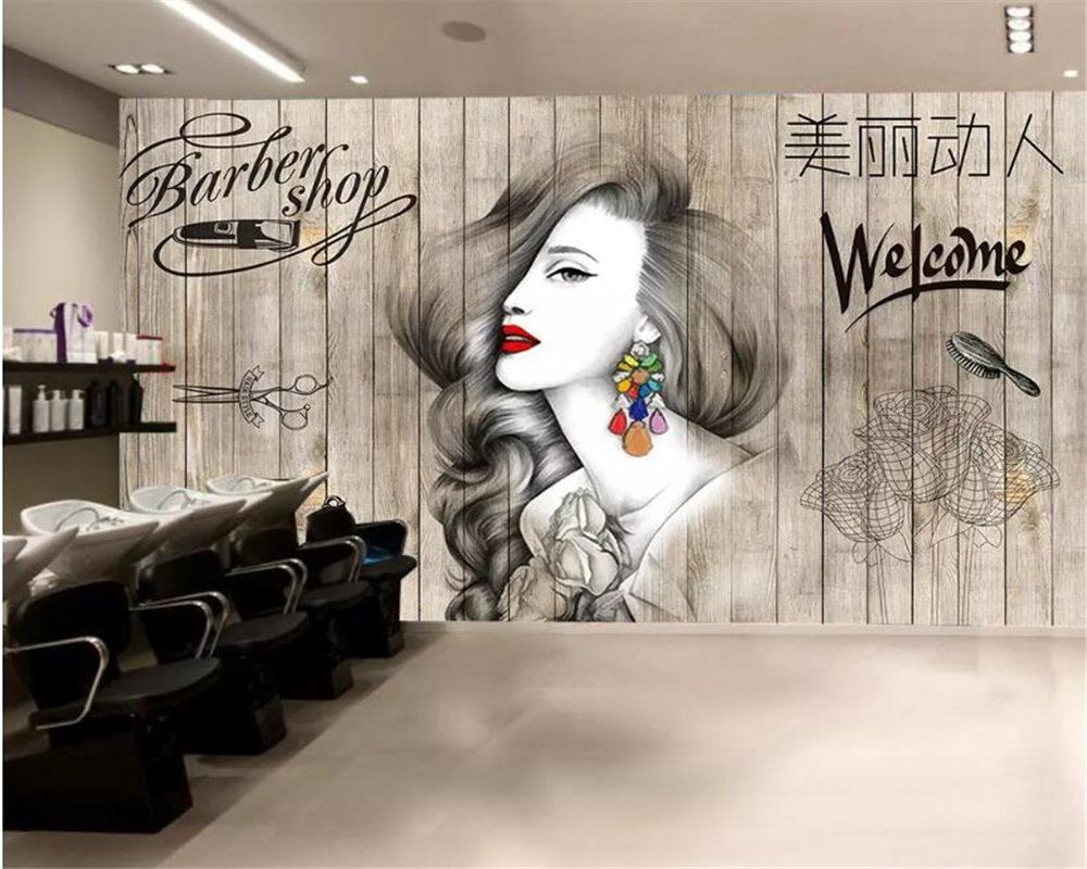 Salon Décoration Us 9 45 37 Off Beibehang Photo Wallpaper Nordic Hair Salon Hairdresser Beauty Salon Barber Shop Background Wall Decoration 3d Wallpaper Mural In