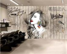 Beibehang Photo wallpaper Nordic hair salon hairdresser beauty salon barber shop background wall decoration 3d wallpaper mural цена 2017