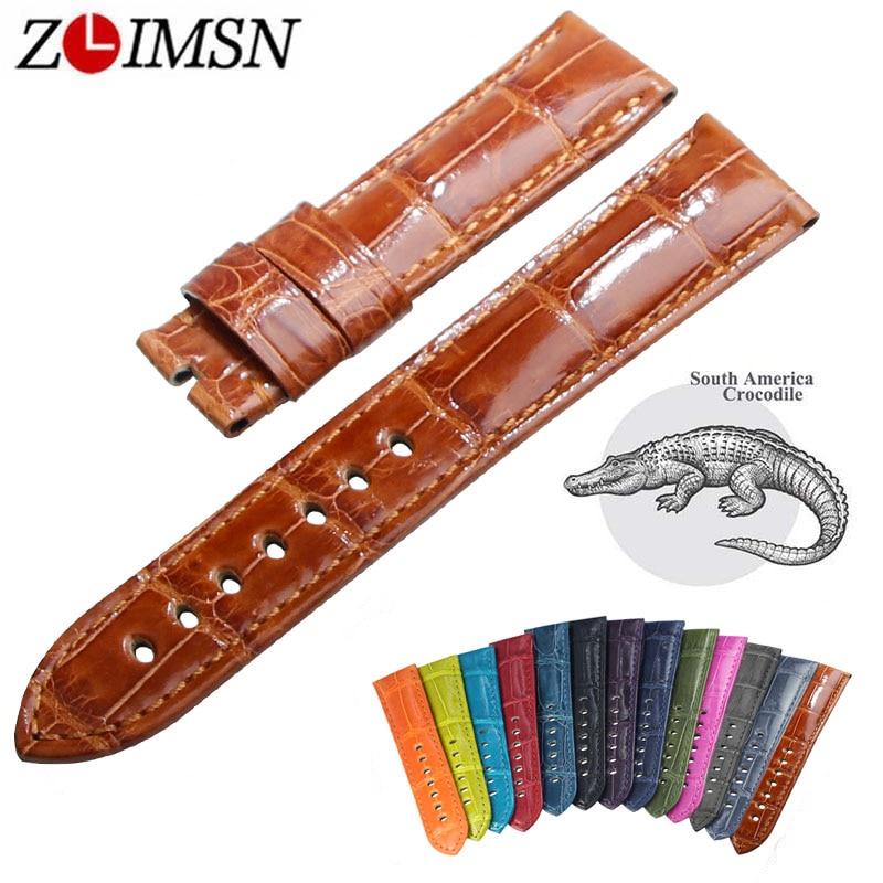 Zlimsn 원래 악어 스트랩 럭셔리 스트랩 12 색 사용자 정의 크기 panerai radiomir luminor luminor due 잠수정 시계 밴드-에서워치 밴드부터 시계 의  그룹 1