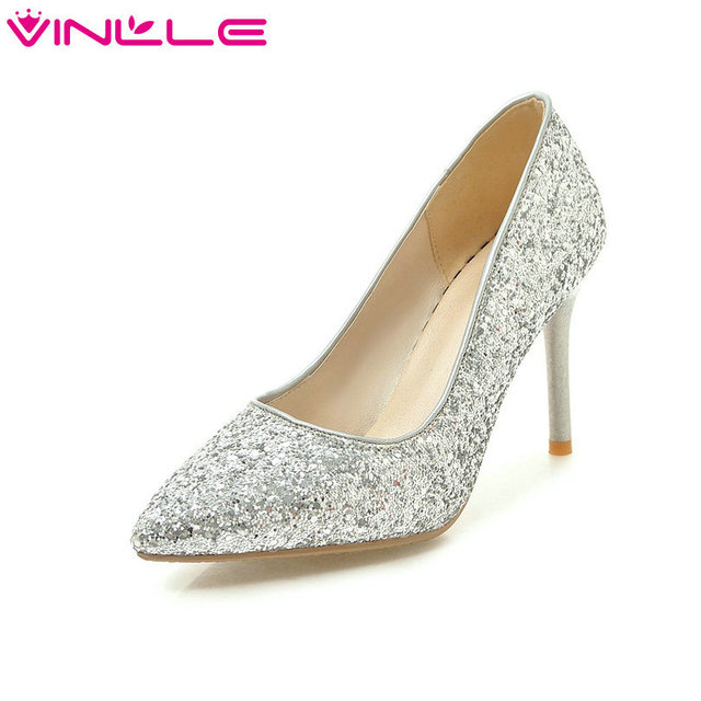 430017db48 VINLLE 2018 Women Shoes PU Leather Thin High Heel Woman Shoes Slip On Sequins  Platform Ladies