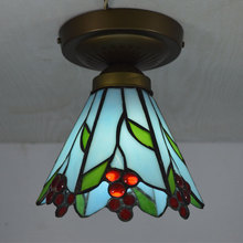 Tiffany Small Ceiling Light Stained Glass Lampshade Country Style Bedroom Kitchen Fixture E27 110-240V
