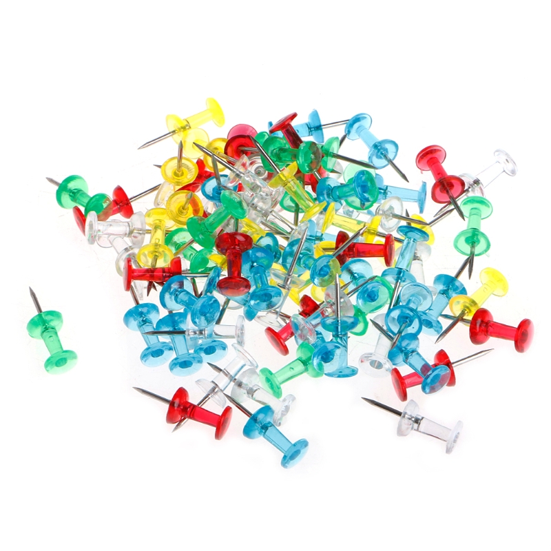 Clear Push Pins Drawing Pins Notice Cork Board Pins Thumb Tacks x 40Pcs
