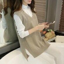 2018 New Arrival Autumn Winter Female Fashion Cashmere V-neck Knitting Vest, Korean Style Elegant Casual All-match Sweater Vest