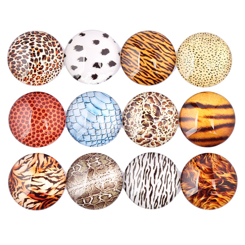 Reidgaller Mix Leopard Photo Round Glass Cabochon 12mm 10mm 25mm 30mm Diy Handmade Jewelry Findings For Earrings Pendant