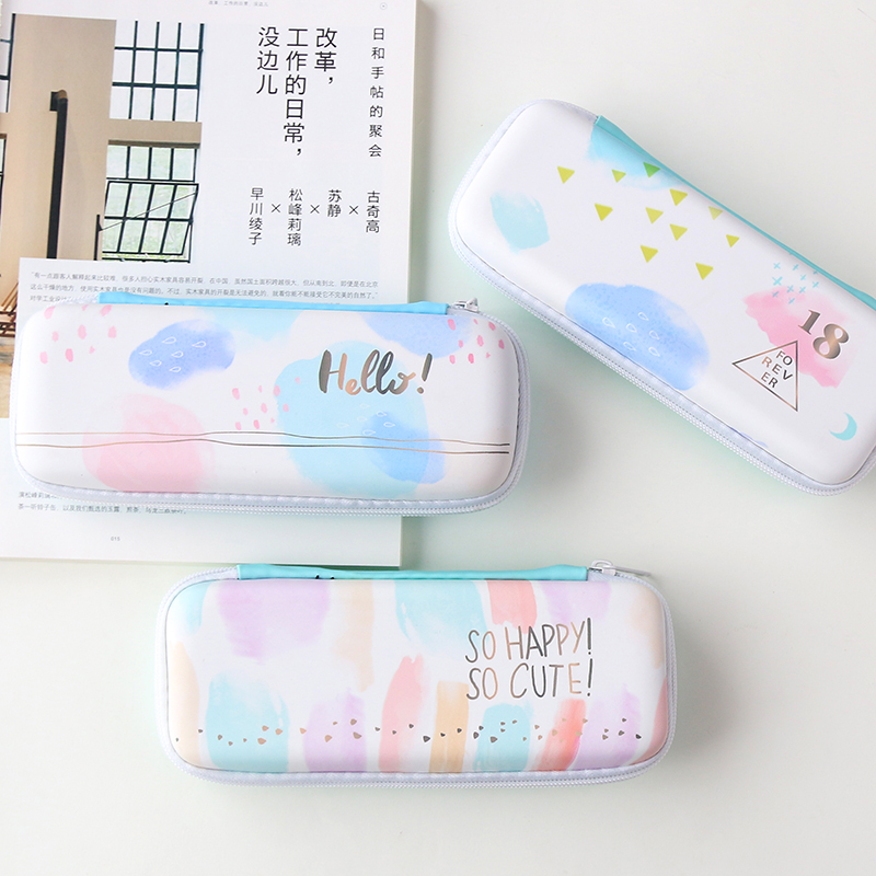 3/2 South Korea stationery EVA zipper pen boxes hard anti-throw pen bag voltage big capacity students pencil case 12pcs lot south korea stationery love secret garden straight liquid type fountain pen 2017