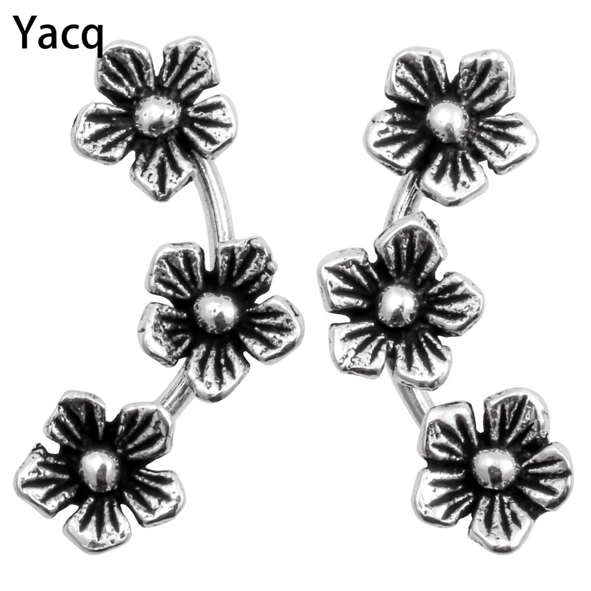 YACQ 925 Fleurs En Argent Stud Boucles D'oreilles CostumeFashion Bijoux D'anniversaire Cadeaux pour Femmes Filles Sa Mère Dropshipping YCE135
