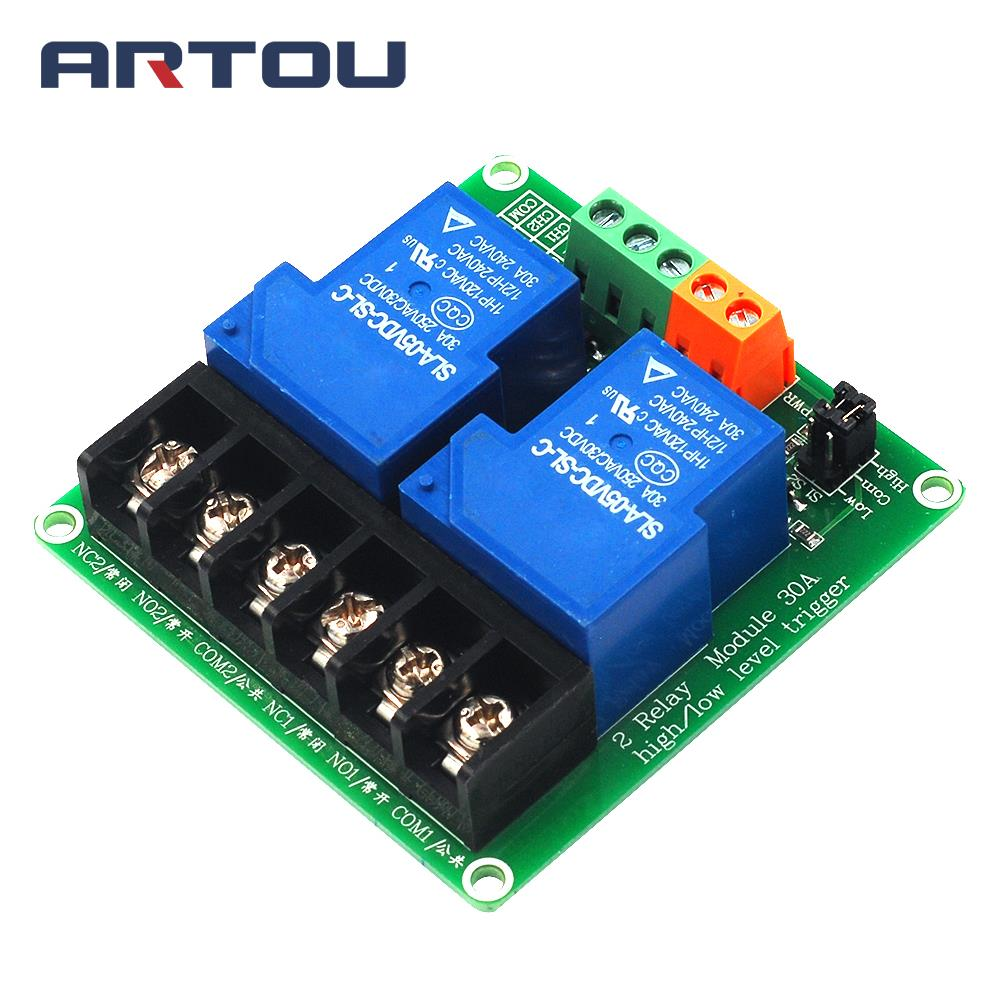 5V 12V 24V 30A 2 Channel High and Low Level Trigger Relay Module Intelligent Home PLC Automation Control5V 12V 24V 30A 2 Channel High and Low Level Trigger Relay Module Intelligent Home PLC Automation Control