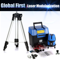 Free shipping whole set KINZO multifuncton laser line cross line laser rotary laser level 360 selfing leveling 5line 4V1H3Point