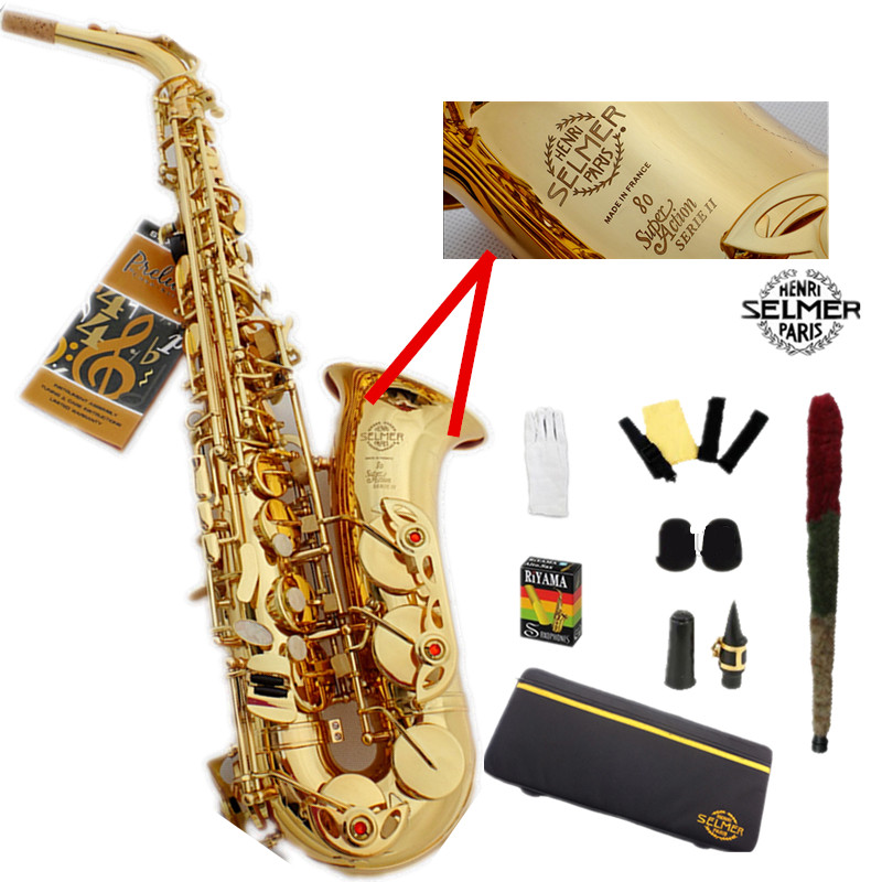 France Selme SAS 802 alto saxophone Eb sax Electrophoresis gold saxofone professional musical instruments mouthpiece & Hard boxs selmer 802 gold lacquer alto saxophone eb tune flat saxofone brass music instruments with mouthpiece case