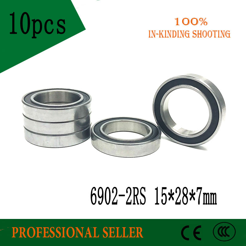 10PCS 6902-2RS Bearing ABEC-1 15x28x7 mm Metric Thin Section 6902 2RS Ball Bearings 6902RS 61902 RS