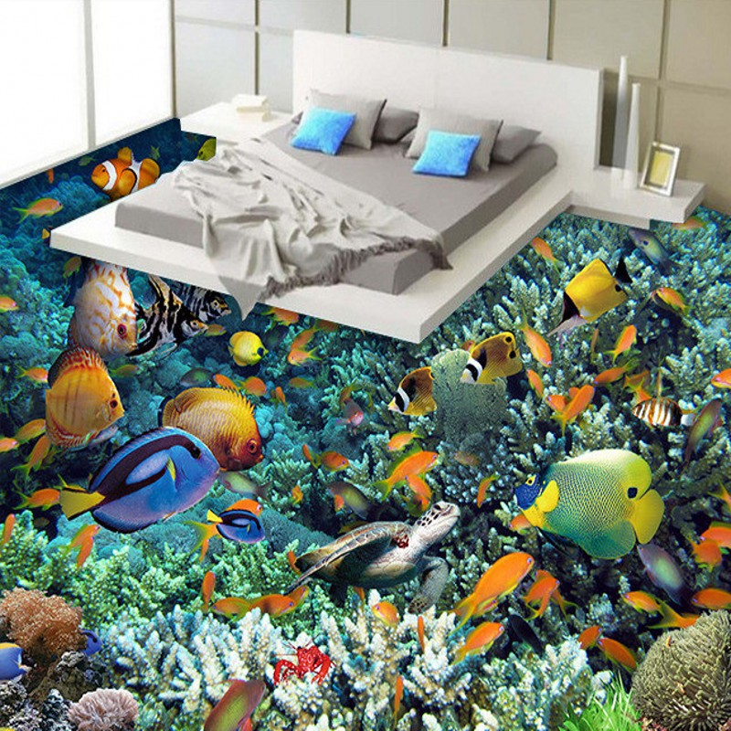 Free Shipping Underwater World Coral tortoise 3D floor painting self-adhesive living room bathroom bedroom study flooring mural free shipping marble texture parquet flooring 3d floor home decoration self adhesive mural baby room bedroom wallpaper mural