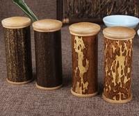 New Small Natural Bamboo Tea Box Ware Tea Canister Black Bamboo Delicate Box Storage Jar Sealed
