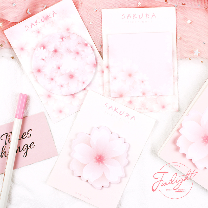 30 Sheets/pad Pink Sakura Theme Cute Paper Self-adhesive Memo Pad Sticky Notes Student Stationery