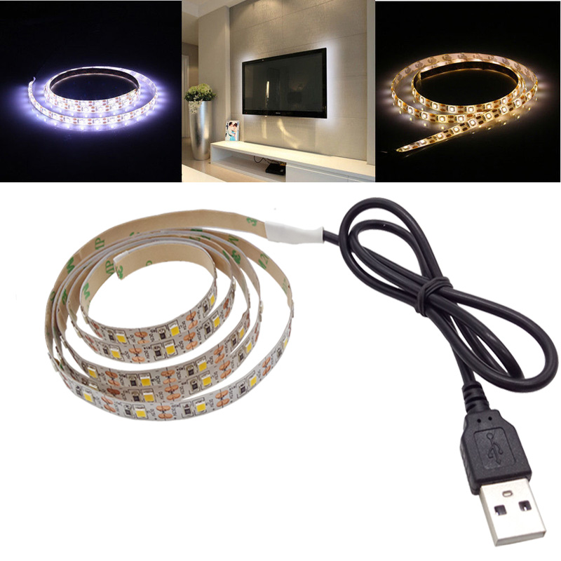 SMD 3528/2835 TV Backlight Bias Lighting USB LED Strip light waterproof 0.5M/1M/2M/5M White Warm white led tape Flat Screen LCD