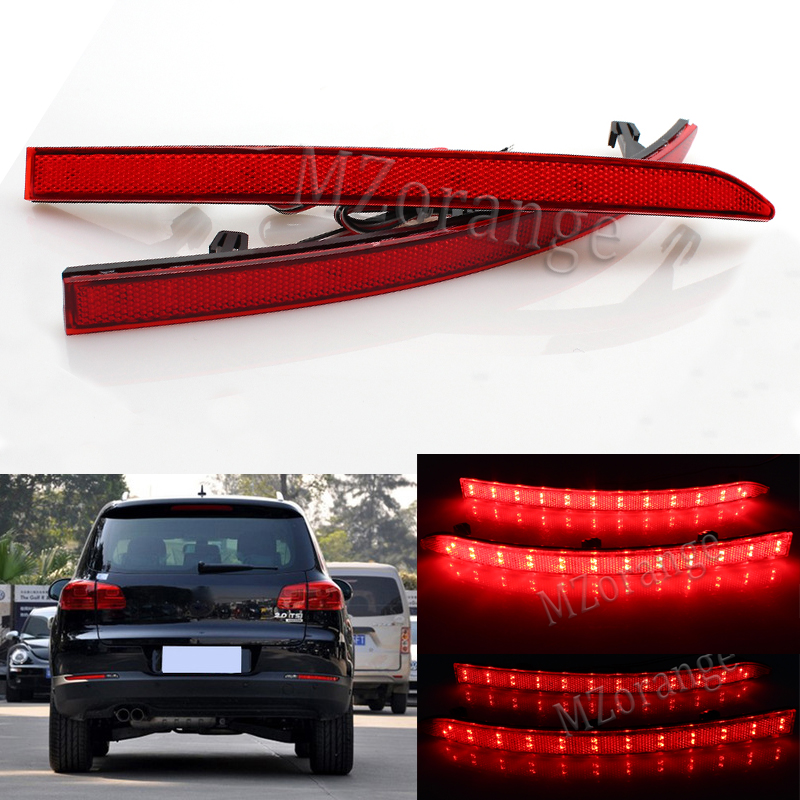 Red Lens Auto LED Rear Reflectors Light For Volkswagen VW Tiguan 2008-2015 Car Tail Fog Lamp Brake Stop Night Running Lights 1 piece red rectangle red len led reflectors brake light universal motorcycle brake light car brake lights moto stop light
