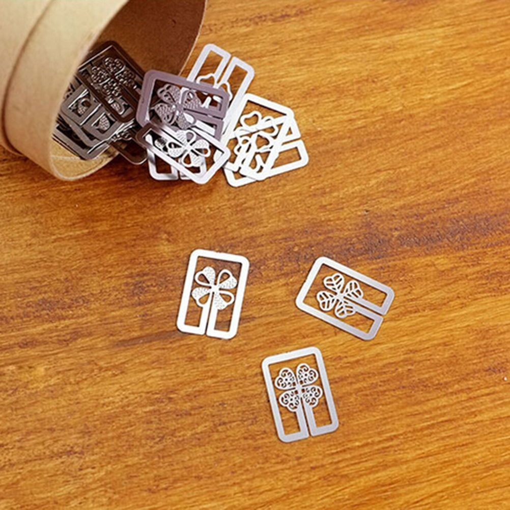 20 Pcs/ Box Cute Geometric Book Marker Stationery Office School Supplies Mini Metal Bookmarks For Books Page Holder