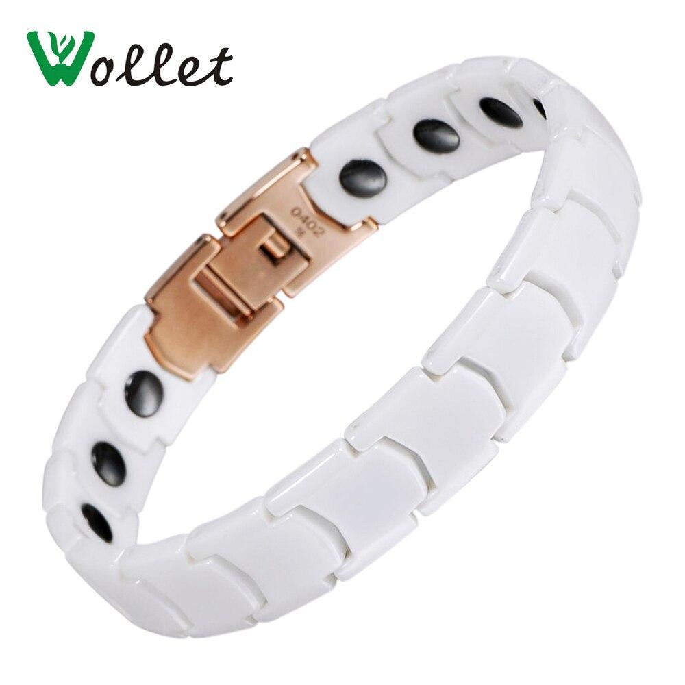 Wollet Jewelry Korea Design Health Care Solid Germanium Hematite White Ceramic Bracelet For Men Women Couple Bracelet trendy top white ceramic bracelet elegant star health care titanium bracelets